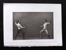 Badminton Library 1893 Sword Fencing Print. The Salute, Engagement in Tierce